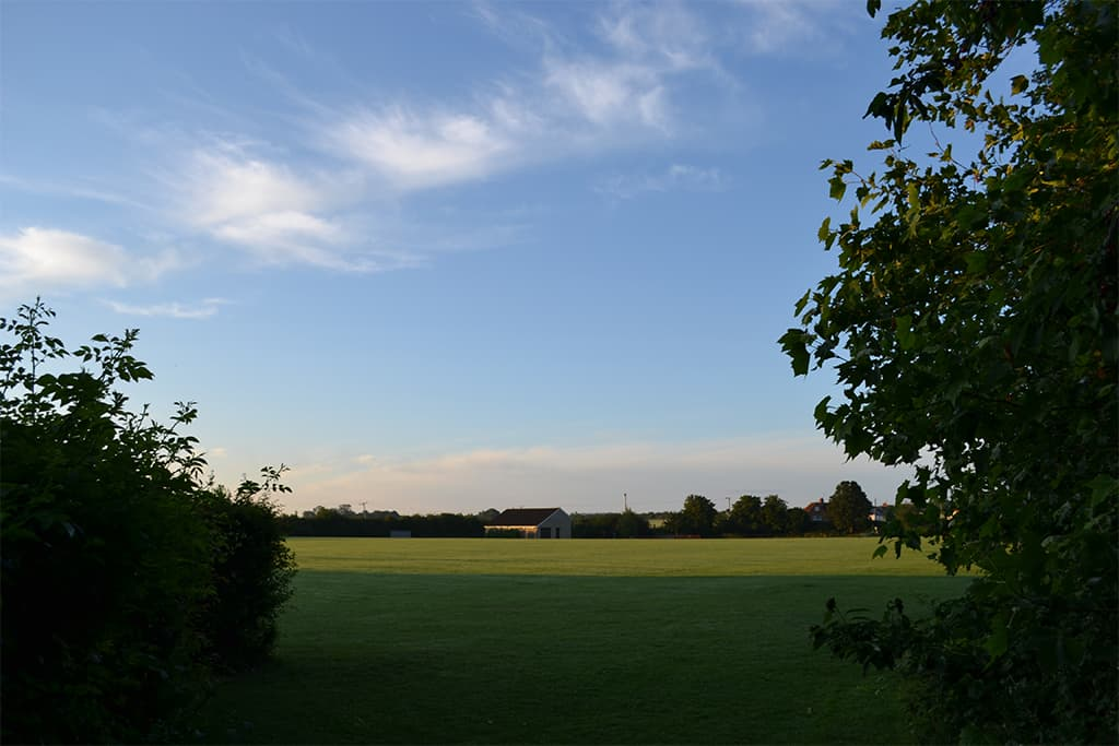 Picture of Mepal Community Pavilion from Laurel Close end of field